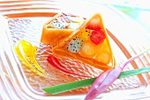 Exotic fruit salad in champagne jelly