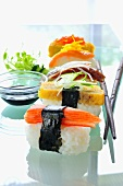 Assorted nigiri sushi with soy sauce