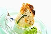 Filo pastry purse (aumoniere de crepe) with frisee