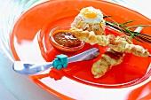 Vegetable rice, chicken satay & peanut sauce for children