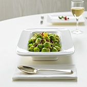 Brussels sprouts in a serving dish