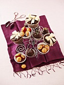 Assorted muffins on a wire stand