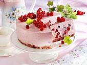 Redcurrant quark cake, a piece cut