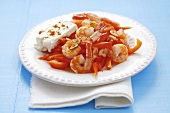 Fried prawns with peppers and feta cheese, Venezuela