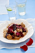 Chicken with rose petals, honey, cinnamon and white wine