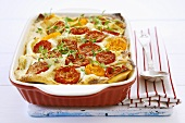 Lasagne with courgettes, peppers, tomatoes and thyme