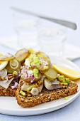 Herring, mustard, egg & gherkin on toasted wholemeal bread