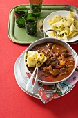 Beef goulash with peppers and broad ribbon pasta