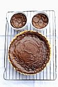 Chocolate tart and chocolate soufflés