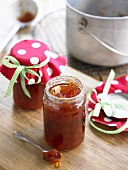 Orange marmalade in jars