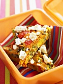 Frittata with sheep's cheese in child's lunch box
