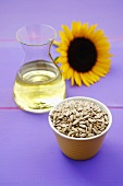 Sunflower seeds, sunflower oil and a sunflower