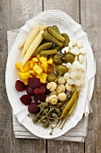 Pickled vegetables on a platter