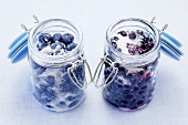 Sugared blueberries and bilberries in preserving jars
