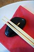 Asian place-setting with chopstick rest