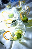 Party drinks with grapes and orange zest