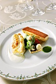 Cod with puff pastry and dill vegetables