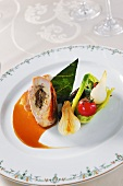 Truffled chicken breast fillet with vegetables