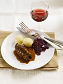Beef roulade with red cabbage and potato dumplings