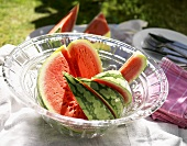 Slices of watermelon in glass bowl
