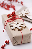 Parcel with snowflake biscuit