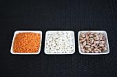 Red lentils, white beans and runner beans