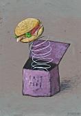 Hamburger jumping out of box (Illustration)