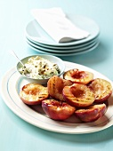 Grilled nectarines with dip