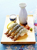 Prawn sushi with sake