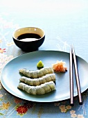 Prawn sashimi with ginger, wasabi and soy sauce