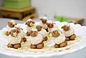 Marzipan sheep on a plate