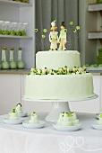 Wedding cake with marzipan figures