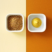 Mustard seeds and mustard (overhead view)