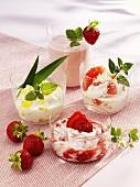Pineapple yoghurt, strawberry quark, soft cheese with grapefruit, strawberry kefir