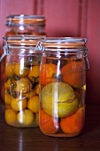 Bottled tomatoes in preserving jars