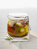 Pickled vegetables in preserving jar