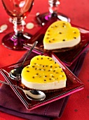 Heart-shaped passion fruit cakes