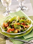 Spring vegetables with smoked salmon and basil