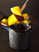 Pineapple with chocolate sauce