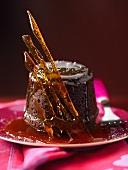 Chocolate pudding with caramel lattice