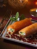 Filled smoked salmon rolls