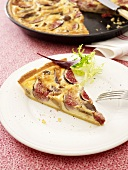 Savoury cheese, fig and chestnut quiche