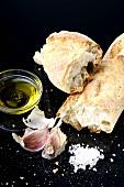 Olive oil, garlic, salt and baguette