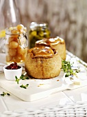 Pork pies, pickled onions and gherkins