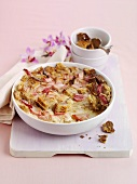 Bread and butter pudding with rhubarb