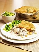 Chicken and pancetta pie with greens