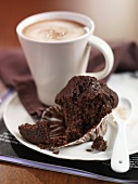 Chocolate muffin and cocoa