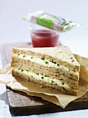 Egg and cress sandwich, muesli bar, smoothie