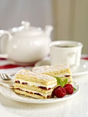Millefeuille filled with quark and raspberries