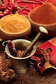 Chilli flakes in mortar, chilli powder, curry powder & chillies